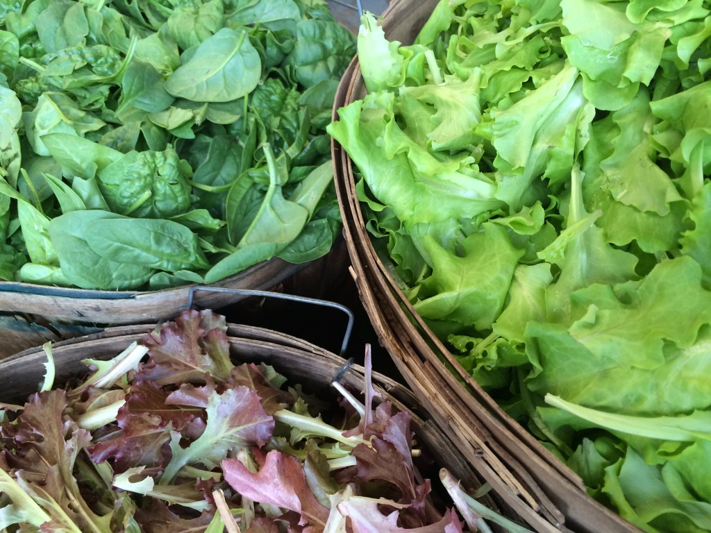 Spinach, and spring mix lettuce.